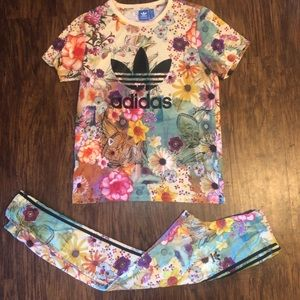 Adidas Confete Set S Leggings + Tee Shirt EUC